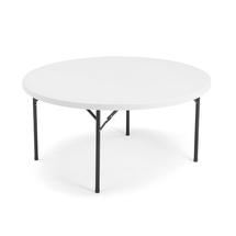 Kulatý skládací stůl Mika, Ø 1520 mm, plastová deska, černá konstrukce