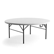 Kulatý skládací stůl Mika, Ø1830 mm, plastová deska, černá konstrukce