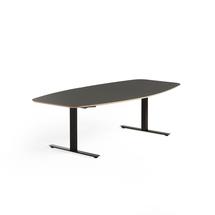 Jednací stůl Audrey, 2400x1200 mm, černý rám, tmavě šedá deska