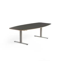 Jednací stůl Audrey, 2400x1200 mm, stříbrný rám, tmavě šedá deska