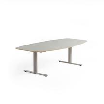 Jednací stůl Audrey, 2400x1200 mm, stříbrný rám, světle šedá deska