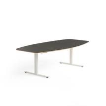Jednací stůl Audrey, 2400x1200 mm, bílý rám, tmavě šedá deska