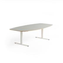 Jednací stůl Audrey, 2400x1200 mm, bílý rám, světle šedá deska