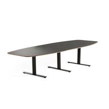 Jednací stůl Audrey, 3200x1200 mm, černý rám, tmavě šedá deska