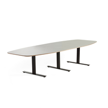 Jednací stůl Audrey, 3200x1200 mm, černý rám, světle šedá deska