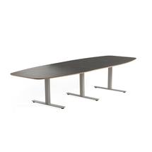Jednací stůl Audrey, 3200x1200 mm, stříbrný rám, tmavě šedá deska