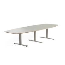 Jednací stůl Audrey, 3200x1200 mm, stříbrný rám, světle šedá deska