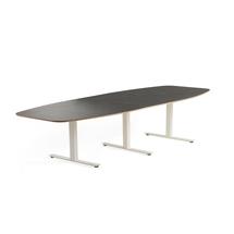 Jednací stůl Audrey, 3200x1200 mm, bílý rám, tmavě šedá deska