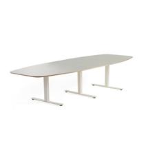Jednací stůl Audrey, 3200x1200 mm, bílý rám, světle šedá deska