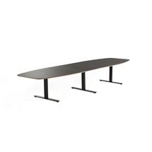 Jednací stůl Audrey, 4000x1200 mm, černý rám, tmavě šedá deska