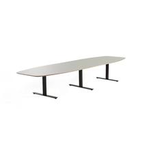 Jednací stůl Audrey, 4000x1200 mm, černý rám, světle šedá deska