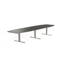 Jednací stůl Audrey, 4000x1200 mm, stříbrný rám, tmavě šedá deska