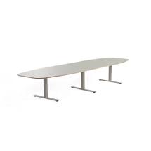 Jednací stůl Audrey, 4000x1200 mm, stříbrný rám, světle šedá deska