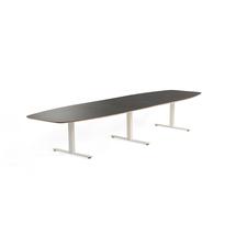 Jednací stůl Audrey, 4000x1200 mm, bílý rám, tmavě šedá deska