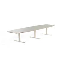 Jednací stůl Audrey, 4000x1200 mm, bílý rám, světle šedá deska