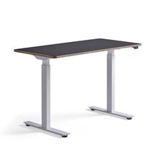 Psací stůl Novus, 1200x600 mm, bílá podnož, černá deska