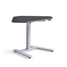Rohový psací stůl Novus, 1200x750 mm, bílá podnož, černá deska