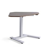 Rohový psací stůl Novus, 1200x750 mm, bílá podnož, jílově šedá deska