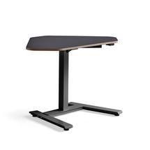 Rohový psací stůl Novus, 1200x750 mm, černá podnož, černá deska