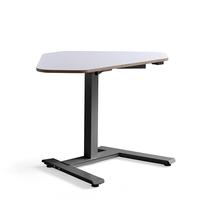 Rohový psací stůl Novus, 1200x750 mm, černá podnož, bílá deska