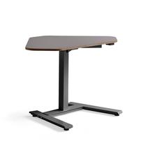Rohový psací stůl Novus, 1200x750 mm, černá podnož, jílově šedá deska
