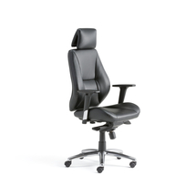 Kancelářská židle Stirling, vysoké opěradlo, černá koženka