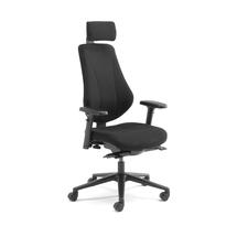 Kancelářská židle Alford, s područkami a opěrkou hlavy, černá