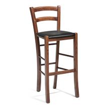 Barová židle Norman, černá koženka/ořech, výška sedáku 730 mm