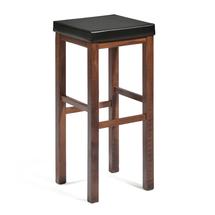 Barová stolička Lawton, 750 mm, ořech, černá koženka