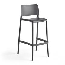 Barová židle Rio, výška sedáku 750 mm, tmavě šedá