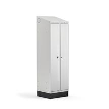 Šatní skříňka Classic Combo, 1 sekce - 2 boxy, 2050x600x550mm, sokl, šedé dveře