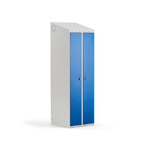 Šatní skříňka Classic Combo, 1 sekce, 1900x600x550 mm, šedá/modré dveře