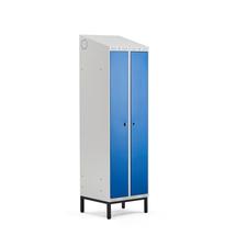 Šatní skříňka Classic Combo, 1 sekce - 2 boxy, 2100x600x550mm, nohy, modré dveře