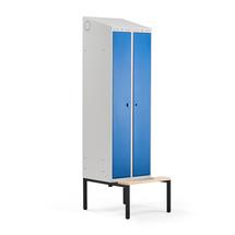 Šatní skříňka Classic Combo, 1 sekce - 2 boxy, 2290x600x550mm, lavice, modré dveře