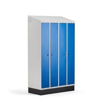 Šatní skříňka Classic Combo, 2 sekce - 4 boxy, 2050x1200x550mm, sokl, modré dveře