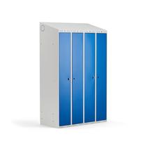 Šatní skříňka Classic Combo, 2 sekce, 1900x1200x500 mm, šedá/modré dveře