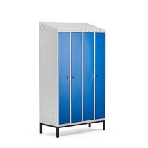 Šatní skříňka Classic Combo, 2 sekce - 4 boxy, 2100x1200x550mm, nohy, modré dveře