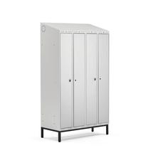 Šatní skříňka Classic Combo, 2 sekce - 4 boxy, 2100x1200x550mm, nohy, šedé dveře