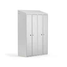 Šatní skříňka Classic Combo, 2 sekce, 1900x1200x500 mm, šedá/šedé dveře
