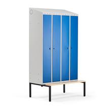 Šatní skříňka Classic Combo, 2 sekce - 4 boxy, 2290x1200x550mm, lavice, modré dveře