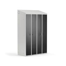 Šatní skříňka Classic Combo, 2 sekce, 1900x1200x500 mm, šedá/černé dveře