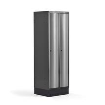 Šatní skříňka Curve, 2 sekce, 1890x600x550 mm, sokl, šedé dveře