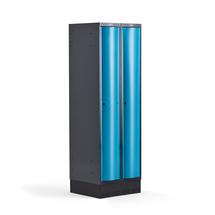 Šatní skříňka Curve, 2 sekce, 1890x600x550 mm, sokl, modré dveře