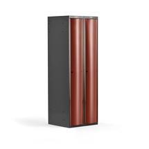 Šatní skříňka Curve, 2 sekce, oblé dveře, tmavě šedá, červené dveře