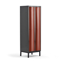 Šatní skříňka Curve, 2 sekce, 1940x600x550 mm, nohy, červené dveře
