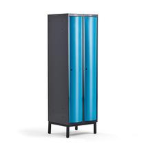 Šatní skříňka Curve, 2 sekce, 1940x600x550 mm, nohy, modré dveře