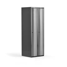 Šatní skříňka Curve, 2 sekce, oblé dveře, tmavě šedá, světle šedé dveře