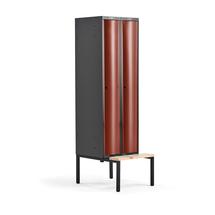 Šatní skříňka Curve, 2 sekce, 2120x600x550 mm, lavice, červené dveře