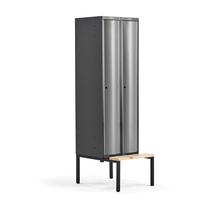 Šatní skříňka Curve, 2 sekce, 2120x600x550 mm, lavice, šedé dveře