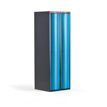 Šatní skříňka Curve, 2 sekce, oblé dveře, tmavě šedá, modré dveře